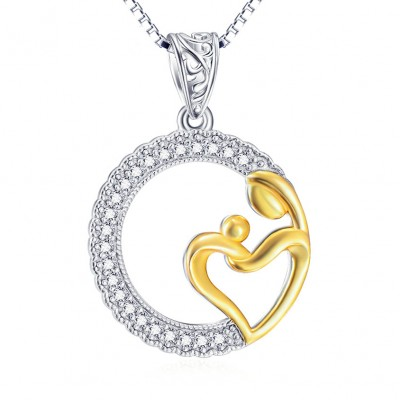 Maternal Love 925 Sterling Silver Gold Zircon Necklace