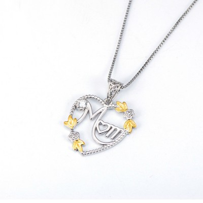 Gift for Mom 925 Sterling Silver Gold Heart Zircon Necklace