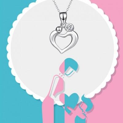 Maternal Love 925 Sterling Silver Heart Zircon Necklace
