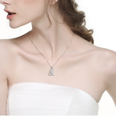 Maternal Love 925 Sterling Silver Zircon Heart Necklace