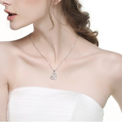 Maternal Love Heart 925 Sterling Silver Zircon Necklace