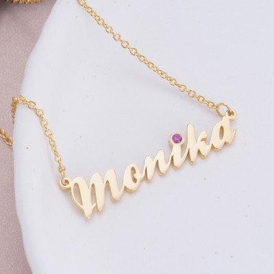 925 Sterling Silver Gold Personalized Birthstone Name Necklace