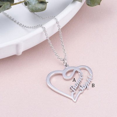 925 Sterling Silver Overlapping Heart Two Name Necklace