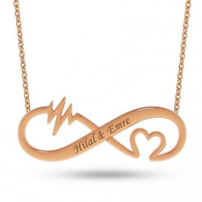 925 Sterling Silver Rose Gold Infinity Love Engraved Necklace