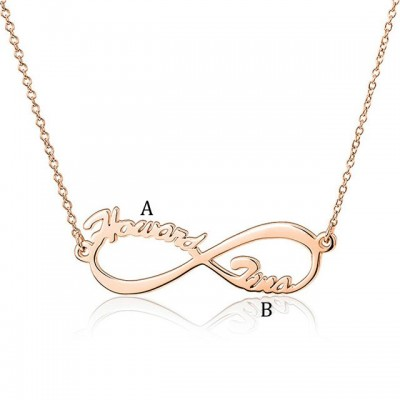 925 Sterling Silver Rose Gold Infinity Two Name Necklace