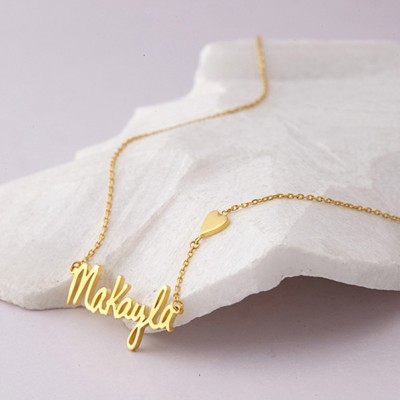 925 Sterling Silver Gold Heart Signature Name Necklace