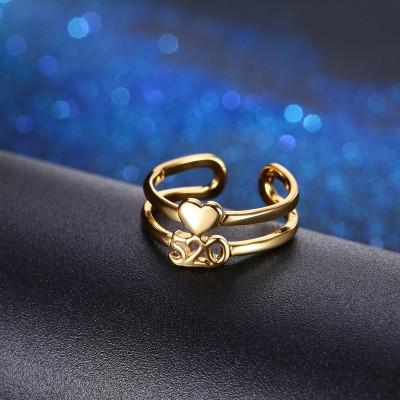 Heart Gold Titanium Promise Rings