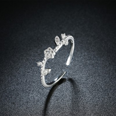 Round Cut White Sapphire Flower S925 Silver Promise Rings