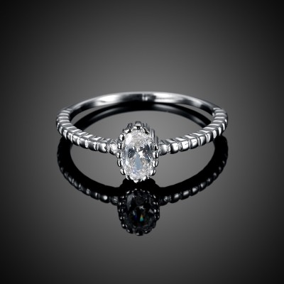 Oval Cut White Sapphire S925 Silver Engagement Rings