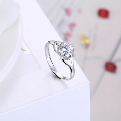 Unique Round Cut White Sapphire S925 Silver Engagement Rings