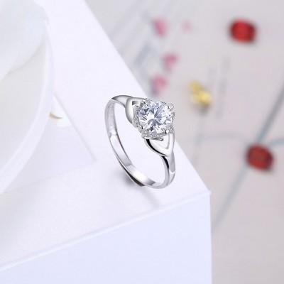 Unique Round Cut White Sapphire S925 Silver Engagement Rings