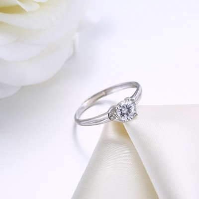 Fine Round Cut White Sapphire S925 Silver Engagement Rings