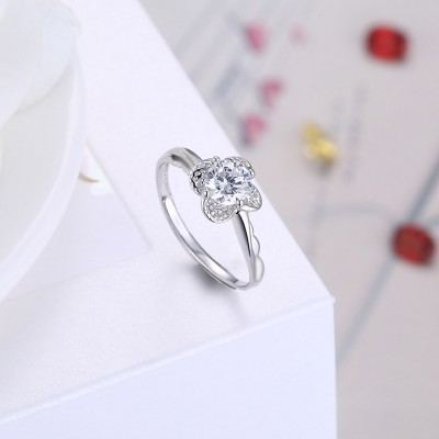 Petal Round Cut White Sapphire S925 Silver Engagement Rings