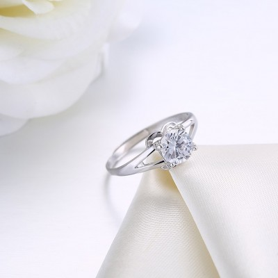 Round Cut White Sapphire Cute S925 Silver Engagement Rings