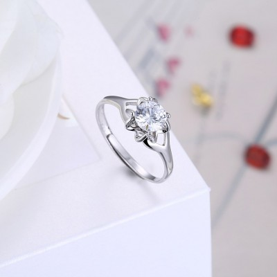 Round Cut White Sapphire Elegant S925 Silver Engagement Rings
