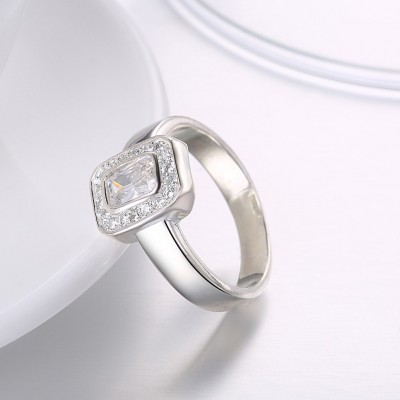Halo Radiant Cut White Sapphire S925 Silver Engagement Rings