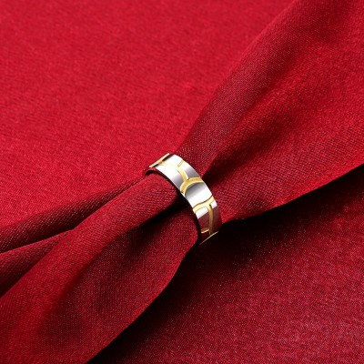 Silver and Gold Titanium Rings for Men