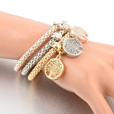 """Tree Of Life"" Charm Bracelet Trio With Austrian Crystals"