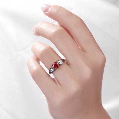 Heart Cut Ruby Sterling Silver Women's Engagement Ring