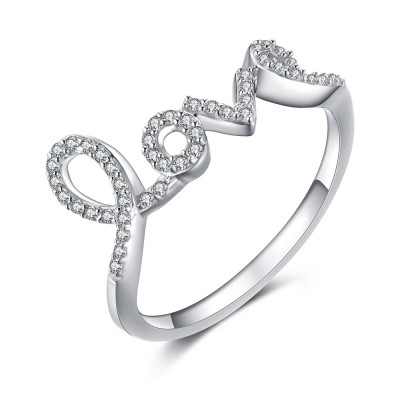 Love White Sapphire 925 Sterling Silver Women's Ring