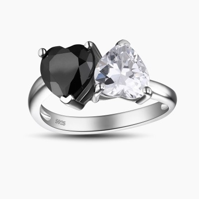 Double Heart Cut Black and White Sapphire 925 Sterling Silver Women's Engagement Ring