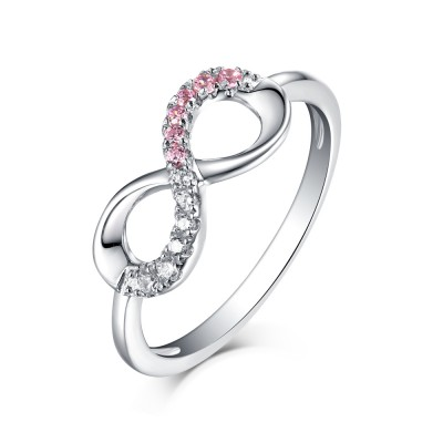 Round Cut Pink & White Sapphire S925 Silver Infinity Rings