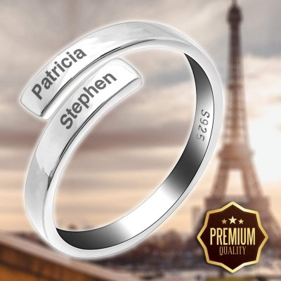 Unisex Love Binding 925 Sterling Silver Name Ring