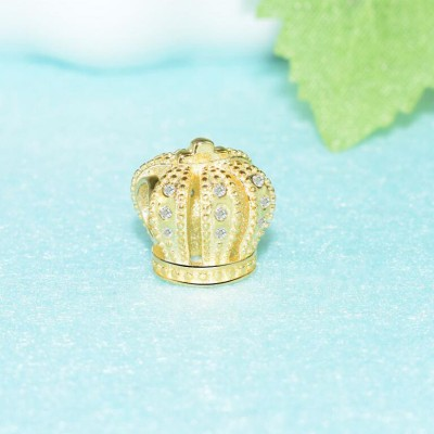 Gold Color Crown Charm Sterling Silver