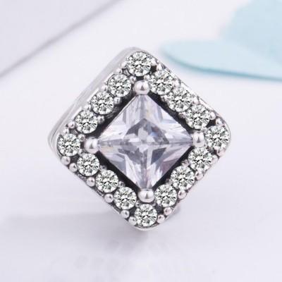 Princess Cut Stone Charm Sterling Silver