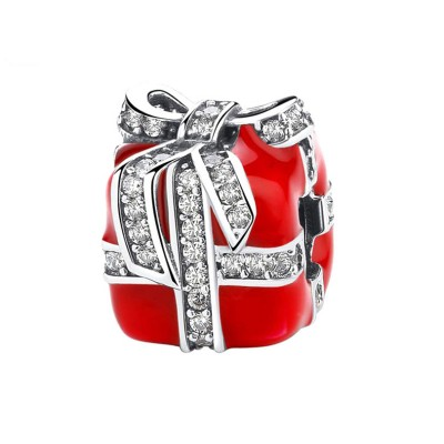 Red Gift Box Charm Sterling Silver