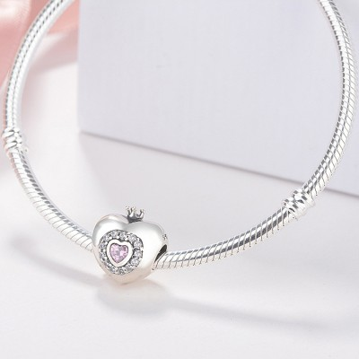 Crown & Heart Princess Charm Sterling Silver