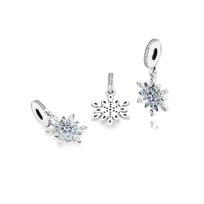 Snowflake with Blue Stones Charm Sterling Silver