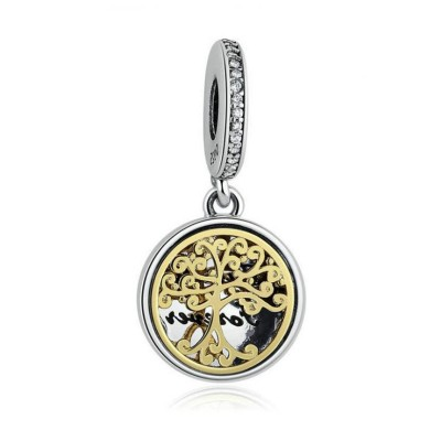 Golden Family Tree Charm Sterling Silver