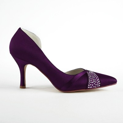 Women's Fashion Satin Stiletto Heel Pumps With Rhinestone Grape Wedding Shoes
