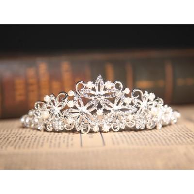 Nice Alloy Clear Crystals Pearls Wedding Headpieces