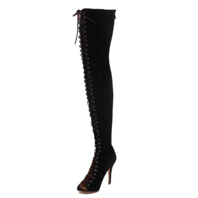Women's Stiletto Heel Peep Toe Suede Lace-up Over The Knee Black Boots