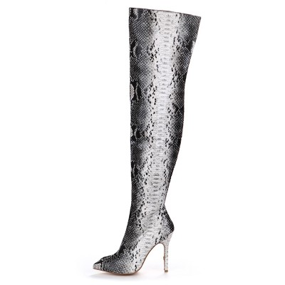Women's Stiletto Heel Patent Leather With Snake Print Over The Knee Multi Colors Boots