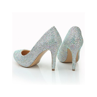 Women's Stiletto Heel Closed Toe Sheepskin Diamond Wedding Shoes