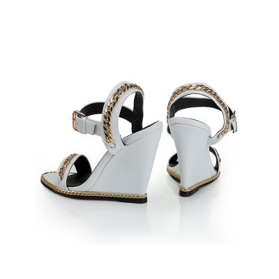 Women's Sheepskin Wedge Heel Peep Toe With Chain Sandals Shoes