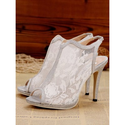 Women's Lace Stiletto Heel Slingbacks Peep Toe Sandals Shoes