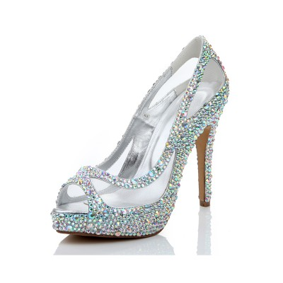Women's Sheepskin Stiletto Heel Rhinestone Peep Toe Sandal Shoes