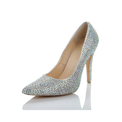 Women's Sheepskin Closed Toe Stiletto Heel With Rhinestone Silver Wedding Shoes