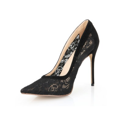 Women's Stiletto Heel Lace Black Closed Toe Office High Heels