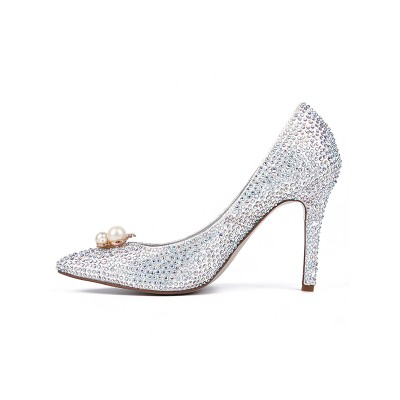Women's Closed Toe Sparkling Glitter with Rhinestones Stiletto Heel High Heels