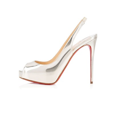 Women's Peep Toe Patent Leather Stiletto Heel Platform Silver Sandals Shoes