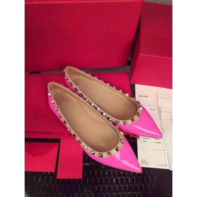 Women's Patent Leather Flat Heel Closed Toe With Rivet Party Casual Flat Shoes