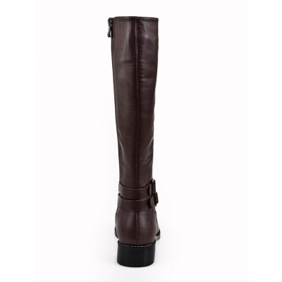 Women's Kitten Heel Closed Toe Cattlehide Leather With Buckle Mid-Calf Chocolate Boots