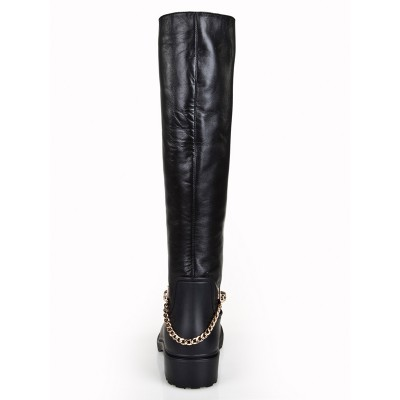 Women's Cattlehide Leather Kitten Heel Closed Toe With Chain Knee High Black Boots
