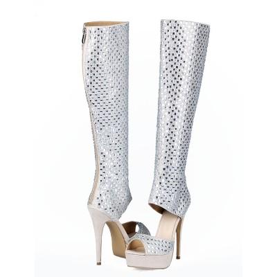Women's Flock Peep Toe Stiletto Heel Rhinestones Boots