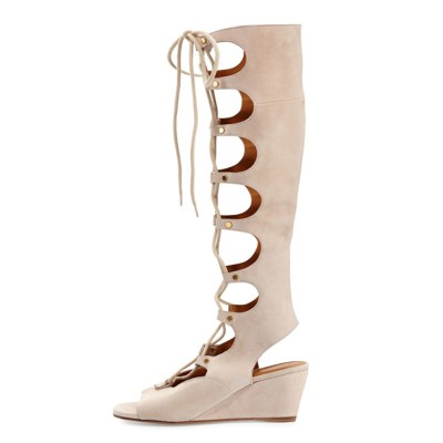 Women's Wedge Heel Peep Toe Suede With Lace-up Sandal Knee High Champagne Boots